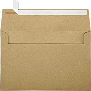 LUXPaper A9 Invitation Envelopes in 70 lb. Grocery Bag for 5 1/2 x 8 1/2 Cards, Printable Envelopes for Invitations, with Peel and Press, 50 Pack, Envelope Size 5 3/4 x 8 3/4 (Brown)