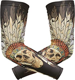Anyangquji Native American Indian Headdress with Skull Arm Sleeve Protectiv for Man Elbow Brace for Arthritis (1 Pair)