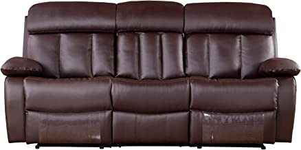 American Eagle Furniture Dunbar Collection Faux Leather Reclining Sofa with Pillow Top Armrests, Dark Brown