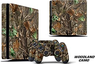 247Skins Designer Decal for PlayStation 4 SLIM System plus Two (2) Decals for PS4 Dualshock Controller - Woodland Camo