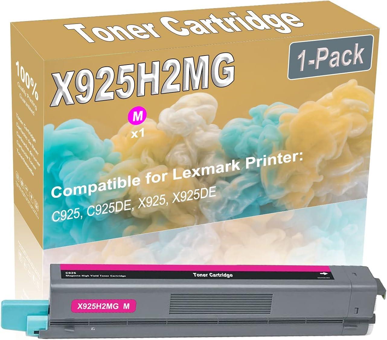 1-Pack (Magenta) Compatible C925 C925DE X925 X925DE Laser Toner Cartridge (High Capacity) Replacement for Lexmark X925H2MG Printer Toner Cartridge