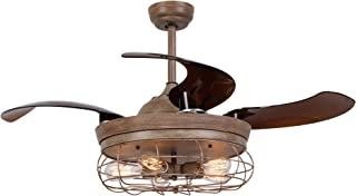 Parrot Uncle Ceiling Fan with Light 46 Inch Industrial Ceiling Fan Retractable Blades Vintage Cage Chandelier Fan with Remote Control, 5 Edison Bulbs Needed, Not Included, Weathered Oak Wood