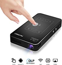 AKASO Mini Projector, WT50 DLP Portable Pocket Projector with WiFi, Android 7.1, Wireless and Wired Screen Sharing, Trackpad Design, 1080P Video Play, Home Theater Pico Projector for iPhone Android
