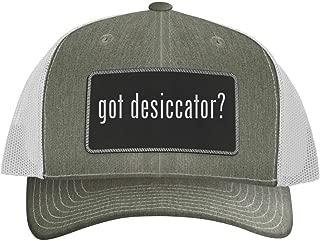 One Legging it Around got Desiccator? - Leather Black Metallic Patch Engraved Trucker Hat