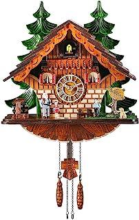 Kintrot Cuckoo Clock Traditional Chalet Black Forest House Clock Handcrafted Wooden Wall Pendulum Quartz Clock