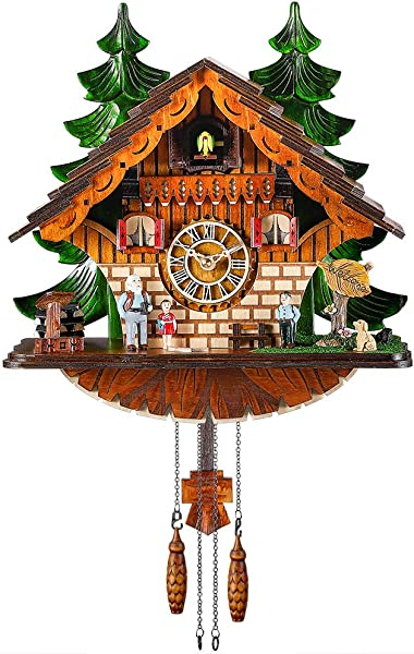 Kintrot Cuckoo Clock Traditional Chalet Black Forest House Clock Handcrafted Wooden Wall Pendulum Quartz Clock