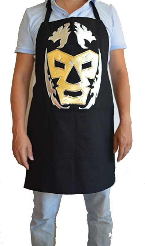 Deportes Martinez Lucha Libre Funny Mexican Apron Luchador Mask WWE Dr Wagner Silver Gold