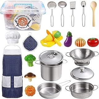 EFO SHM Juguetes de Cocina para niños Accesorios, 23 Piezas Juguetes de Chef para Niños, Cocina de Acero, Vegetales para C...