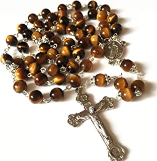 elegantmedical Handmade Tiger Eye Rosary Beads Italy Relic Cross Crucifix Catholic Necklace Gift Box