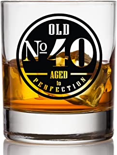 Old No. 40 Whiskey Glass For Men - 40th Birthday Gifts for Him - Unique Scotch Glass - 40th Birthday Decorations and Party...