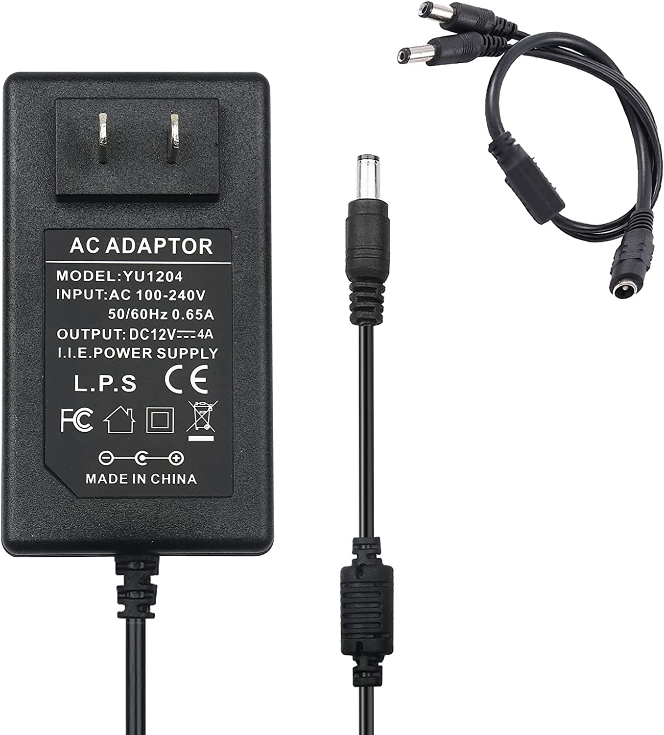 LeTaoXing AC DC 12V 4A Switching Power Supply 48W Transformers with 1 Female to 2 Male DC Splitter Cable 2 Way 2-Way 2CH Splitter Bundle