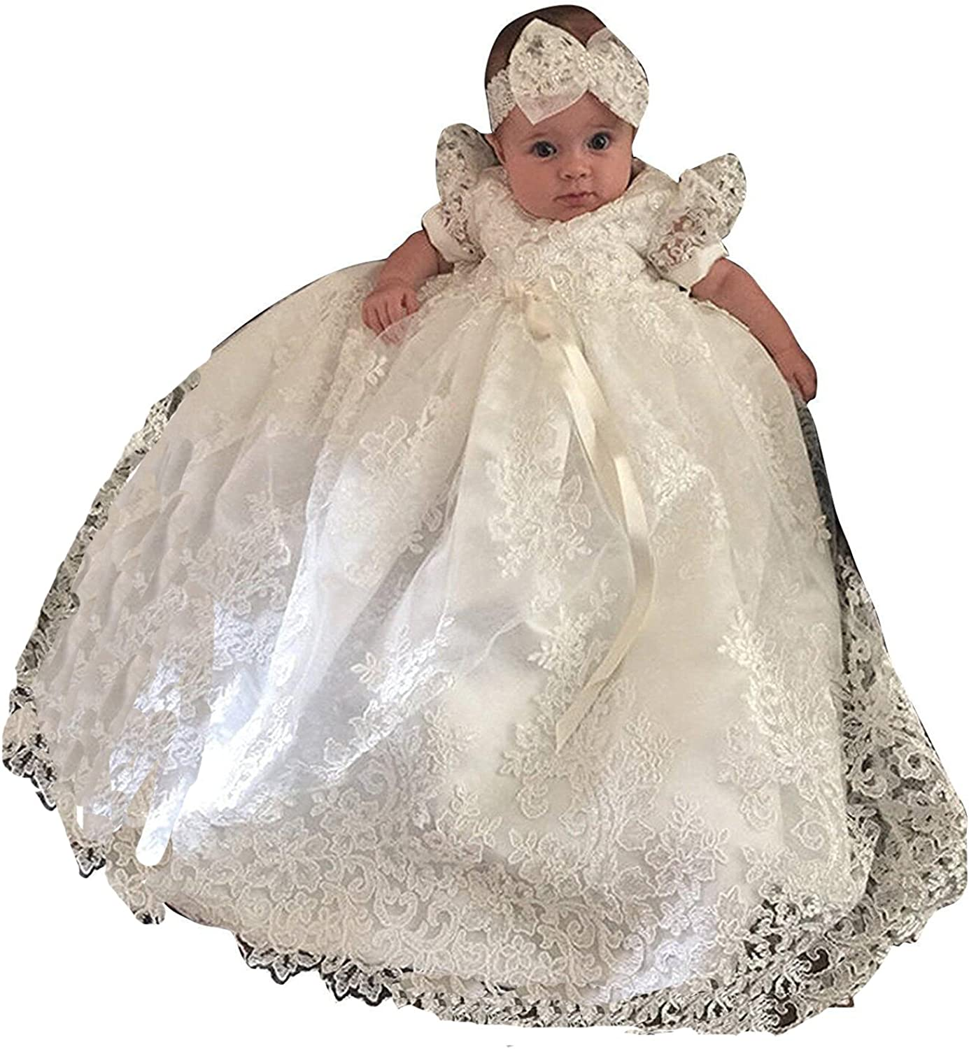 Newdeve Baby-Girls White Lace Infant Toddler Christening Gowns Long