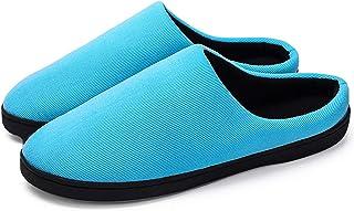 Vtops Zapatillas de algodón, Zapatillas de Invierno de los Hombres, Pareja Estilo de la Media Arrastre Zapatillas de Algod...