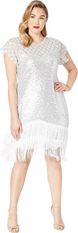 Plus Size 1920s Fringe Del Mar Flapper Dress