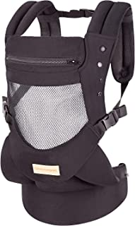 Infant Toddler Baby Carrier Wrap Backpack Front and Back, Hip Seat & Hood, Soft & Breathable Cotton, Cool Air Mesh, Black