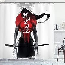 Ambesonne Japanese Decor Collection, Samurai WarriorFigure on Sunburst BackgroundRonin Japan Indigenous War Theme, Polyester Fabric Bathroom Shower Curtain Set with Hooks, Red Black White