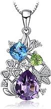 JewelryPalace Flor 2.2ct Amatista Genuina Topacio azul cielo Peridoto triangulo Collar Colgante Plata de ley 925 Con Cadena de Caja de 45 CM