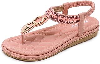 ZAPZEAL Sandales Femmes Plates Été Chaussures de Plage en Cuir PU Nu Pieds à Talon Compensé Tongs Plat Claquette Semelle C...