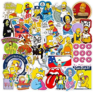 50 PCS The Simpsons Cartoon Unique Stickers for Water Bottle, Laptop, Bicycle, Computer, Motorcycle, Travel Case, Car Decal Decoration Anime Sticker