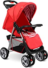 Best Costzon Baby Stroller, Foldable Infant Pushchair with 5-Point Safety Harness, Multi-Position Reclining Seat, Parent and Child Tray, Large Storage Basket, Suspension Wheels, Red Review