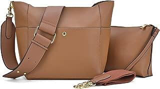 2pcs Women's Hobo Handbags Shoulder Purses Multi Pockets Satchels Roomy Crossbody Bags