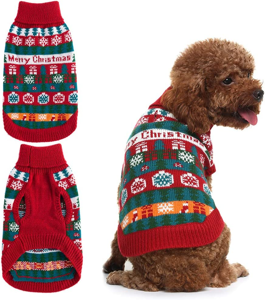 Mihachi Christmas Memphis Mall Dog Max 85% OFF Sweater - Colorful Winter Sno with Clothes
