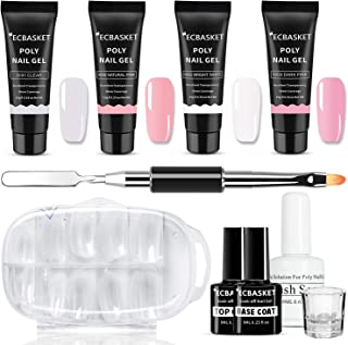 Poly Nail Gel Kit ECBASKET Gel Nail Extension Kit Professional Poly Builder Gel Kit Gel Nail Enhancement System All-in-One Nail Technician French Kit