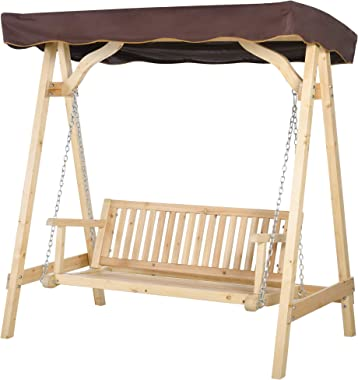 Outsunny 2-Person Outdoor Porch Swing with Wooden Stand, Strong A-Frame Design, & Adjustable Water-Fighting Canopy