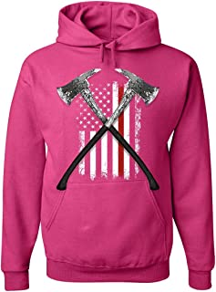 Tee Hunt Firefighter Axes Hoodie Fire Dept US Flag Thin Red Line FD Sweatshirt
