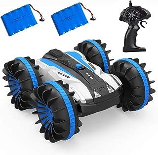 BGVANG ラジコンカー 水陸両用 リモコンカー 無線操作 スタントカー 四駆 車おもちゃ 360回転 カー 両面走行 特技を持つ 子供のおもちゃ 贈り物