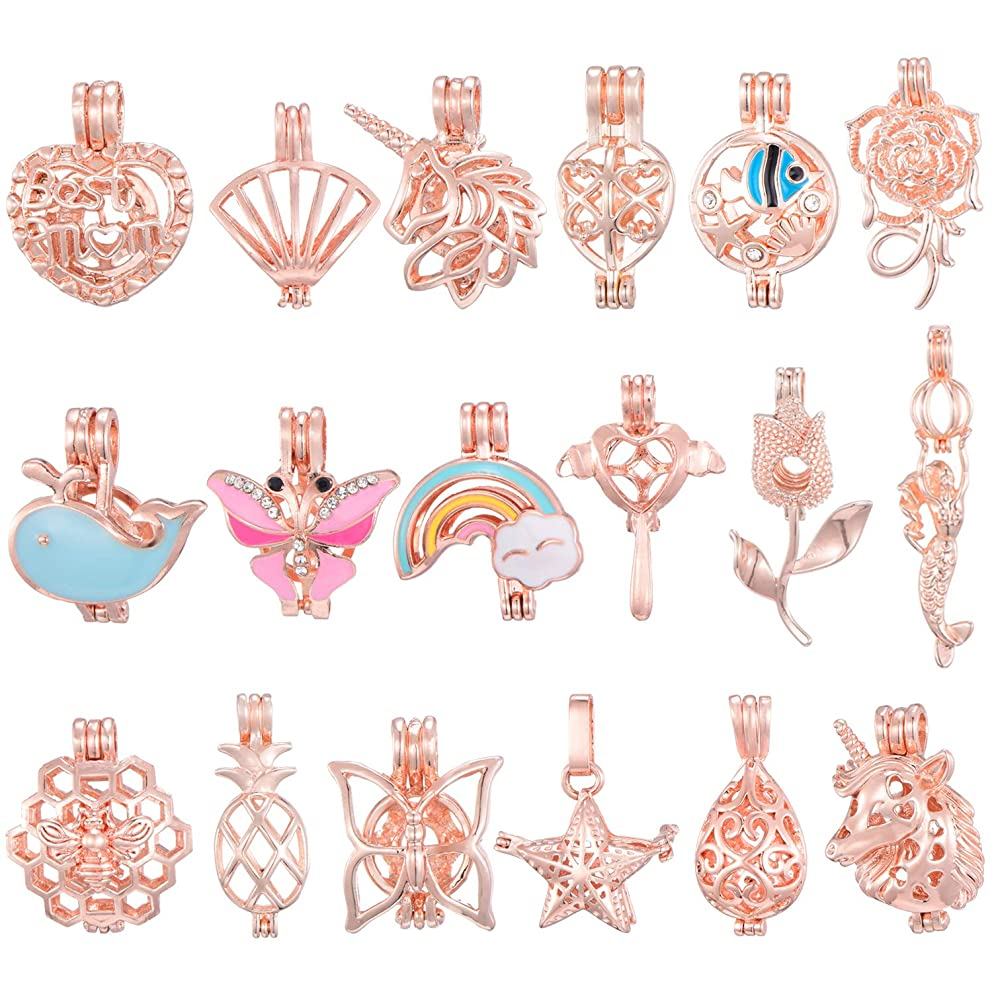 10 Pcs Mixed Rose Gold Plated Pearl Bead Cages Pendants Bulk - Essential Oil Scent Diffuser Cage Charms for Bracelet Necklace Earrings Jewelry Making(Sent at Random)
