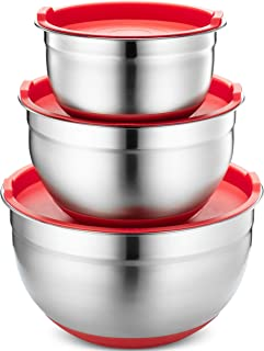 Klee 6-Piece Stainless Steel Non Slip Mixing Bowls with Silicone Base and Airtight Lids, Set of 3 (Red)