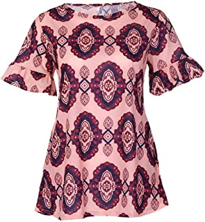 Ashtray - Women's Fashion New Colorful Short-Sleeved Printed Casual T-Shirt Loose Tops,Size:S,Colour:Hot Pink (Color : Khaki, Size : 3XL)