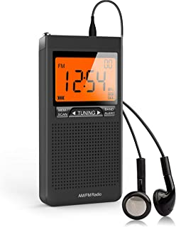 AM FM Portable Radio Personal Radio with Excellent Reception Battery Operated by 2 AAA Batteries with Stero Earphone, Larg...