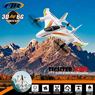WLtoys X450 2.4GHz 6CH RC Vertical Takeoff LED Glider Fixed Wing Airplane RTF Glider 360° Flip Six Axis Gyroscope Powerful Motor EPO Material Remote Control Airplane for Kids 14+ Years Old