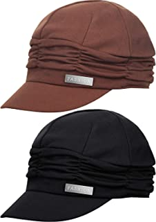 2 Pieces Women Newsboy Cabbie Cap Beret Hats Bamboo Baseball Cap Cotton Painter Visor Hats for Women