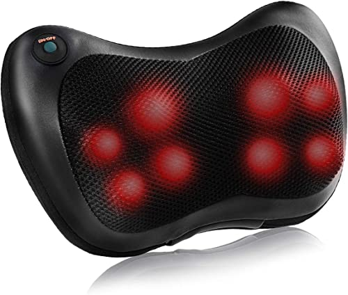 discount Giantex Shiatsu Back Neck Massager with Heat, Kneading Massage Pillow for Muscle Pain Relief, 8 Rollers to Deeper Massage Lower Back & outlet online sale Shoulder, Home new arrival Office Car Use, Black online sale