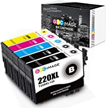 GPC Image Remanufactured Ink Cartridge Replacement for Epson 220XL 220 XL T220XL to use with Workforce WF-2760 WF-2750 WF-2650 WF-2630 Expression XP-320 XP-420 (Black Cyan Magenta Yellow, 5-Pack)