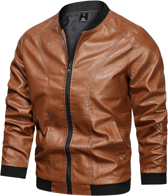 Men's Round Neck Faux Leather Windbreaker Zipper Lightwei Free shipping Award-winning store Jacket