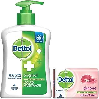 Dettol Liquid Handwash Jar with Pump, Original- 215 ml with Free Dettol Soap - 75 g