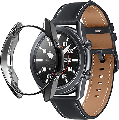 Oboe Watch Case Compatible With Samsung Galaxy Watch 3 45Mm Multi Color Soft TPU Bumper Shell Ultra Light Full Protective Cover Black