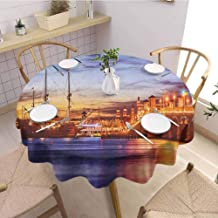 HouseLookHome United States Picnic Tablecloth St. Augustine Florida Famous Bridge of Lions Dreamy Sunset Majestic Fabric Tablecloth 67 Inch Round Orange Blue Coral