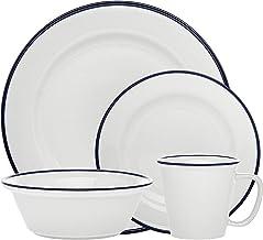مجموعة أدوات المائدة Bistro Blue Band العشاء السلطة صحن الحساء - مجموعة من 16 قطعة