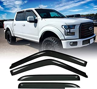 Deebior 4pcs Tape-On Outside Style Dark Smoke Sun Rain Guard Vent Shade Window Visors |94975| For 15-19 Ford F-150 Supercrew Cab (Crew Cab) 17-19 Ford F-250/F-350 Super Duty Supercrew Cab (Crew Cab)
