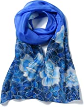 Invisible World Women`s 100% Mulberry Silk Scarf Long Hand Painted Floral