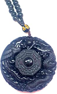 LiZiFang Genuine Natural Black Obsidian Crystal Wolf Head One Necklace Pendant 41x16x11mm AAAA
