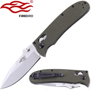 Firebird Knife F704 by Ganzo G704 Pocket Folding Hunting Knife G-10 Handle SS Blade