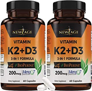 (2-Pack) Vitamin K2 (MK7) with Vitamin D3 Supplement with BioPerine - K2D3 Comlex 3-in-1 Formula Support for Your Heart, B...