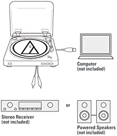 Audio-Technica AT-LP60-USB Fully Automatic Belt-Drive Stereo Turntable (USB & Analog), Silver