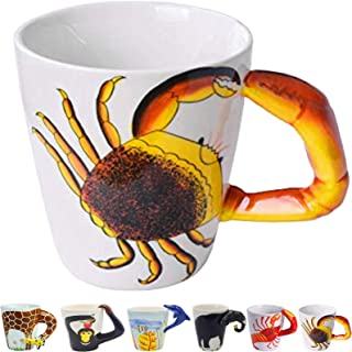 Crab 3D Handle Handmade Large Tea Cup 13.5oz Novelty Funny Hand Painted Holiday and Birthday Gift for Coffee & Tea Lovers Unique Ideal Gifts Ceramics Cup (Crab)